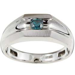 14k White Gold Mens 1/4ct TDW Blue Diamond Ring (Size 10)