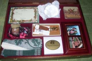 Nice Desk Gift Set in Wood Box Coach KeyChain Gorham Crystal