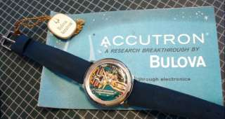 NOS Bulova Accutron 214 Yellow Dot Spaceview Wrist Watch Box