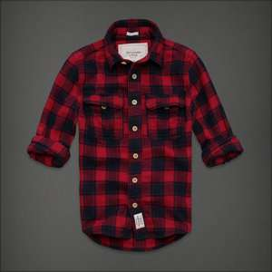 NWT Abercrombie A&F Plaid Flannel Shirt XL Button Down Muscle Red Navy