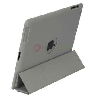 Slim Magnetic Leather Smart Cover + Hard Back Case for iPad 2 Grey