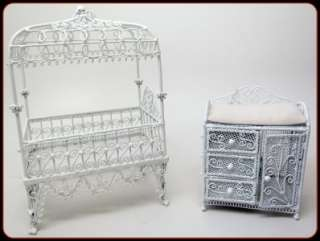 Dollhouse Mini CONCORD Canopy Crib, Baby Dressing Table