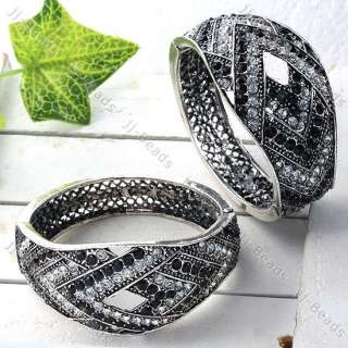 Black White Crystal Rhombus Women Bracelet Fashion Silver Tone Bangle
