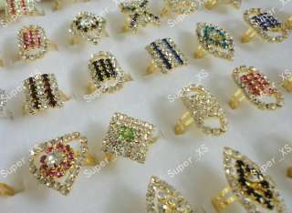 wholesale jewelry lots 30pcs full of rhinestones gold plated Rings