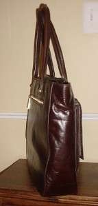 NEW Cynthia Rowley Helena Large Chocolate Brown Leather Tote Handbag