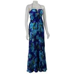 Nightway Womens Printed Silk Chiffon Maxi Dress