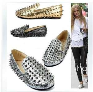 Womens Ladies Glitter Spike Studded Rivets Cover Punk Flats Gothic