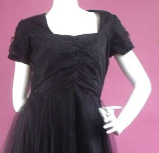 Original Vintage 40s 50s Black Net Prom Dress