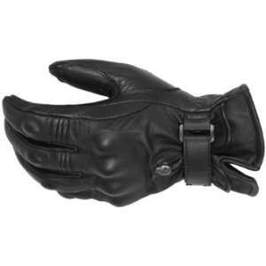 Pokerun Short Leather Mens Motorcycle Gloves Black Large L