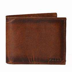 Fossil Mens Carson Brown Leather Traveler Bi fold Wallet