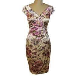Maggy London Womens Printed Stretch Satin Dress