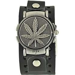 Nemesis Mens Punk Rock Weed Flip Leather Watch