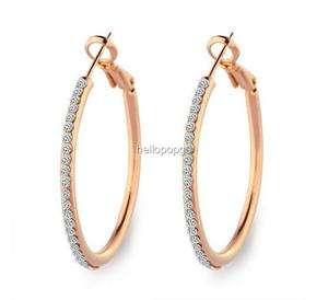 Rose Gold Gp Swarovski Crystal Big Circle Beautiful Earrings