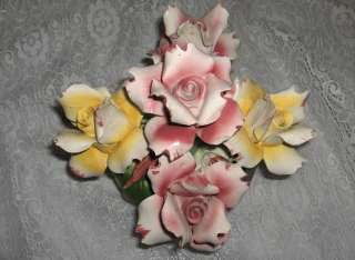 Porcelain China Pink Yellow Roses Floral Bouquet Sign Italy