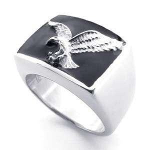 Stainless Steel Vintage Silver Style Eagle Ring Men Big Size 8 13