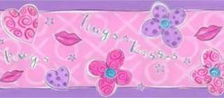 HUGS KISSES Pink FLOWERS Girls Room Decor WALL BORDER