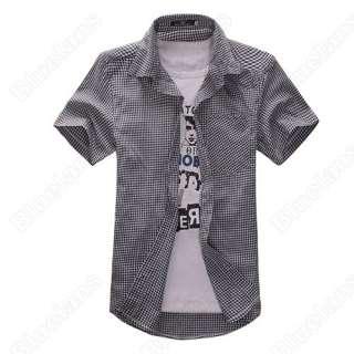 New Mens Slim Fit Casual & Dress Plaid Check Shirt Korean Style Blue