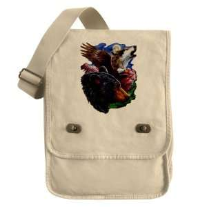 : Messenger Field Bag Khaki Bear Bald Eagle and Wolf: Everything Else