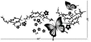 tree Wall Decor Decal Sticker butterfly flower