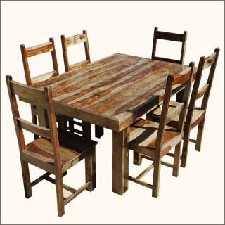 CASUAL Solid Wood 7pc Dining Room Table 6 Piece Chair Furniture Set