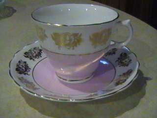 Crownford Fine Bone China Cup & Saucer Pink W/Gold