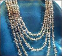 Vintage 40s 50s 5Str Clear Crystals Festoon Necklace