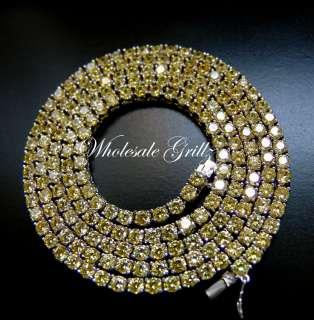 NEW $299 Mens Simulate YELLOW Diamond Necklace CUSTOM CANARY Hip Hop