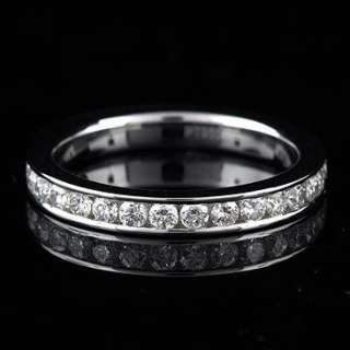 18k Solid White Gold Genuine Diamond 2mm Thin Wedding Bridal Band Ring