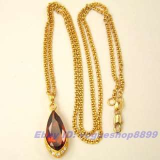 RED CZ GEMSTONE 18K GOLD GP PENDANT NECKLACE SOLID FILL GEP