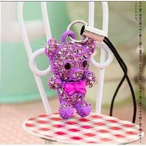 purple crystal teddy bear phone charm