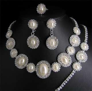 Wedding/Bridal necklace earrings bracelet ring set S348