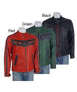 Alexander Julian Mens Vintage Biker Leather Jacket