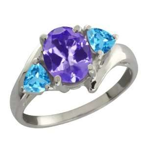 1.72 Ct Oval Blue Tanzanite and Swiss Blue Topaz 18k White
