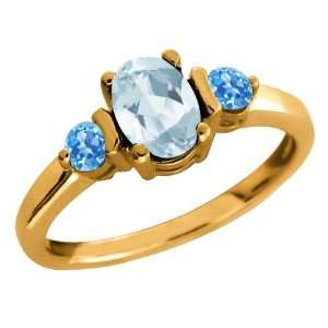 1.02 Ct Oval Sky Blue Aquamarine and Swiss Blue Topaz 14k