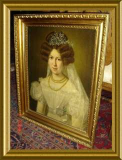 ANTIQUE ENGLISH ARISTOCRAT LADY PORTRAIT Oil Painting