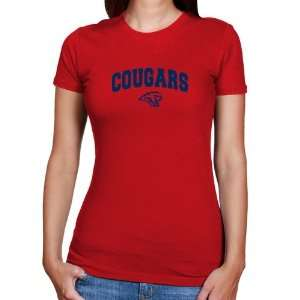Houston Cougars Ladies Red Logo Arch T shirt Sports