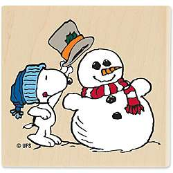 Snoopy & the Snowman Wood Mounted Rubber Stamp