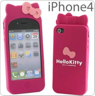 Hello Kitty Double Bow Silicone Soft W/Ear Case Cover For Apple iPhone