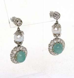 18K GOLD, DIAMONDS EMERALD & PEARL DANGLE EARRINGS