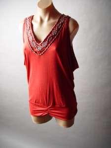 ETHNIC Boho Embellished Beaded Collar Draped Drape Banded Bottom Top