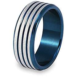 Stainless Steel Blue Groove Ring