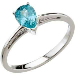Blue Pear Cut Blue Zircon Ring set in 14 karat White Gold on SALE(6.5