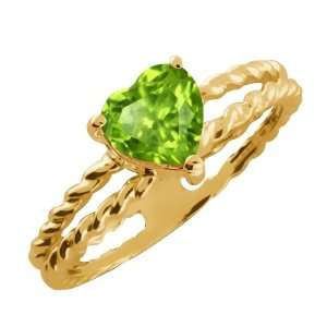 0.83 Ct Heart Shape Green Peridot Gold Plated Sterling