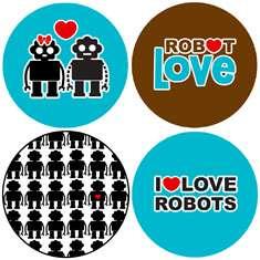 LOVE ROBOTS button set pin heart sci fi boy girl geek