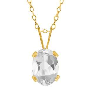 0.95 Ct Oval Shape White Topaz Yellow Gold Plated Brass