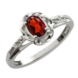 0.57 Ct Oval Red Garnet White Sapphire Sterling Silver