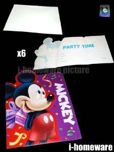 Mickey Mouse Birthday Party 6x Invitation Cards m802