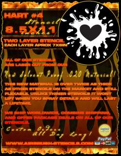 Heart 4 airbrush stencil template harley paint