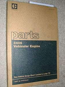 Caterpillar 3406 PARTS MANUAL BOOK CATALOG DIESEL ENGINE 70V1 70V10345