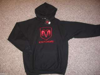 New DODGE RAM Sweatshirt Hoodie Black Embroidered Red